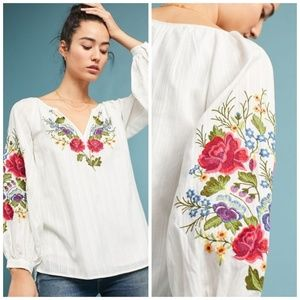 HTF🌸Anthro Mira Embroidered Peasant Blouse